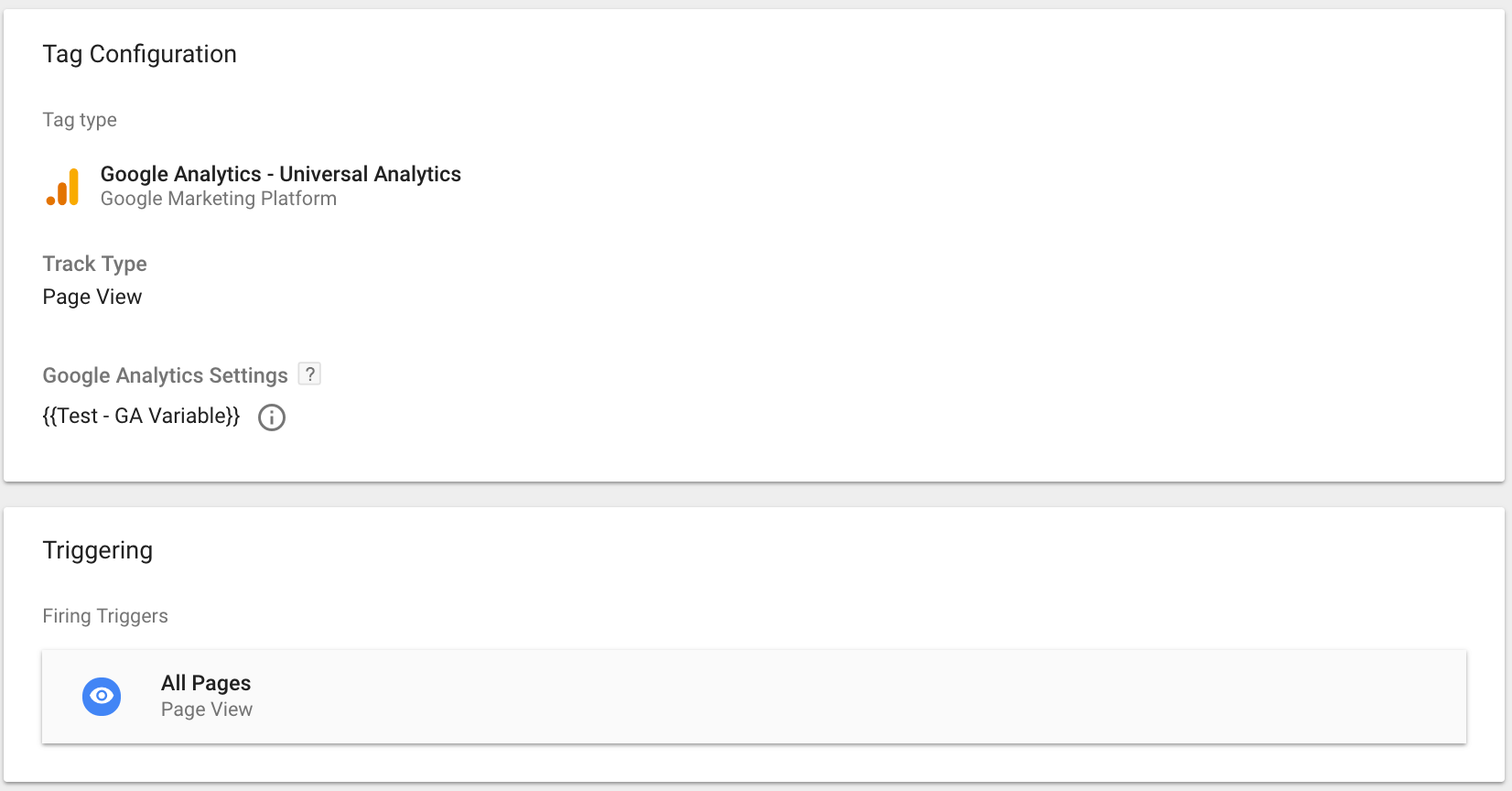 GTM Google Analytics tracking template