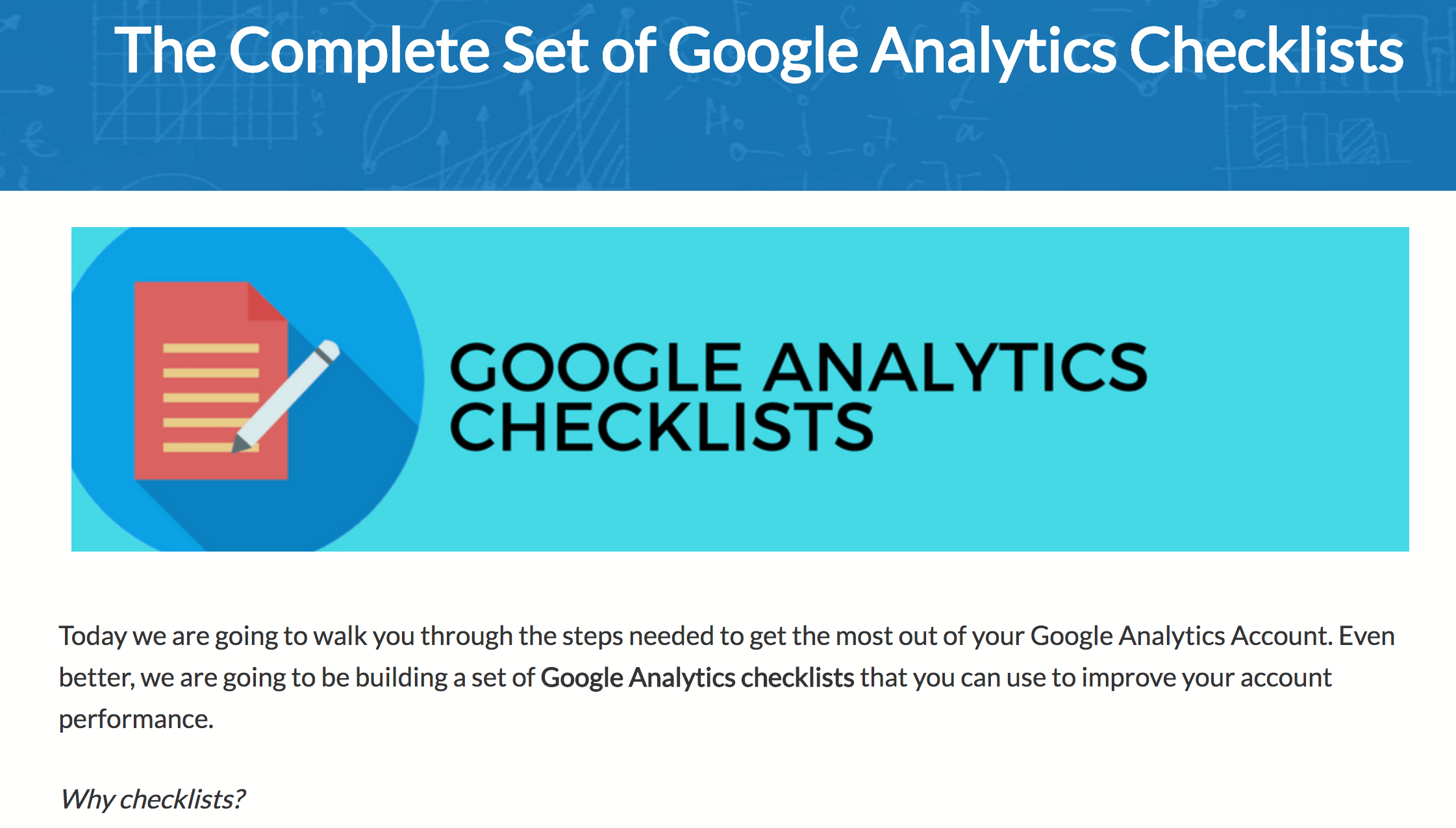 Google Analytics checklists
