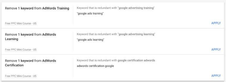 Google Ads optimization score keyword recommendations