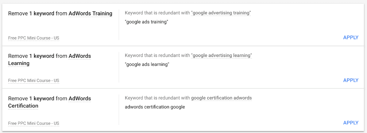 Google Ads optimization score keyword recommendations