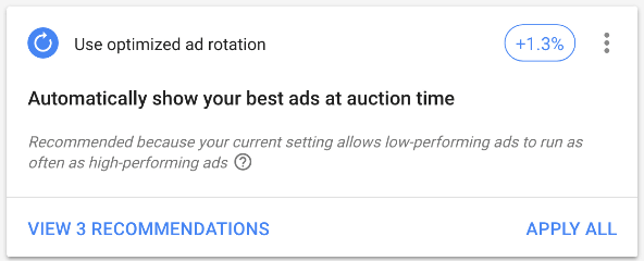 Google ads optimization score and automatic ad rotation
