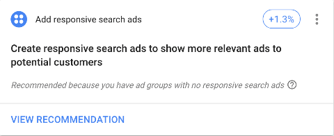 Google Ads optimization score responsive search ads recommendation