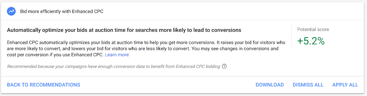 Google Ads optimization enhanced cpc recommendation