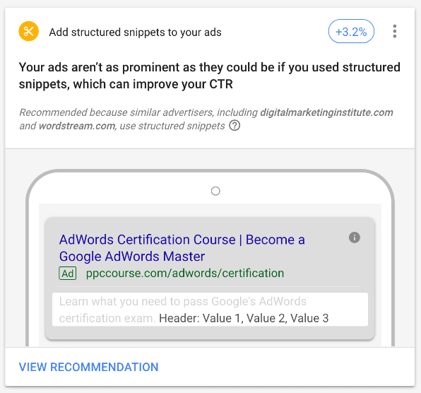 Google ads optimization score structured snippet recommendation