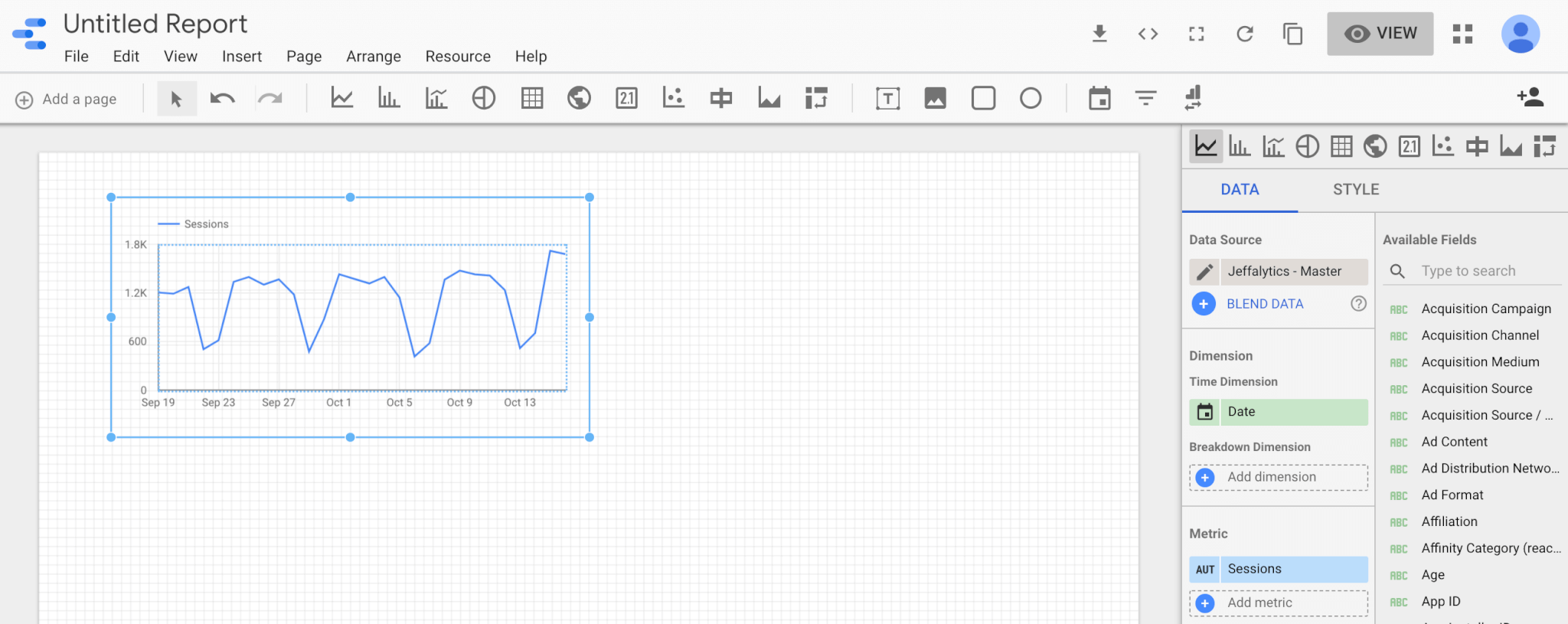 time series chart in Google Data Studio
