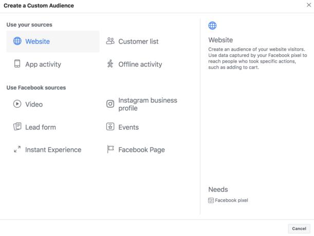 Creating a Facebook Retargeting Audience