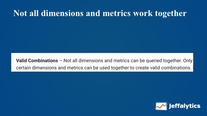 Google Analytics valid combinations