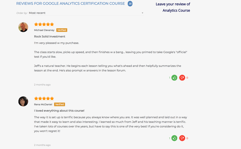 analytics course reviews