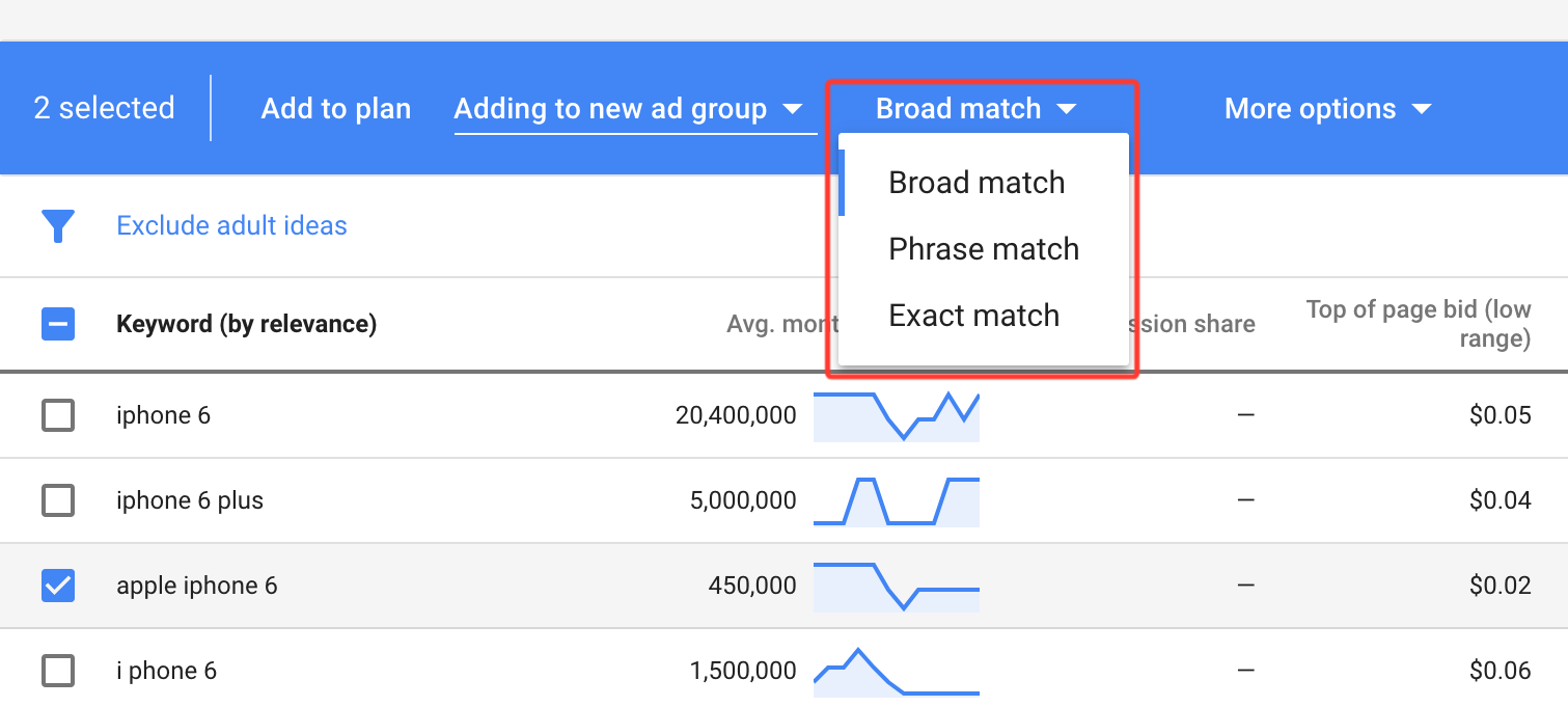 Match types in the Google keyword planner