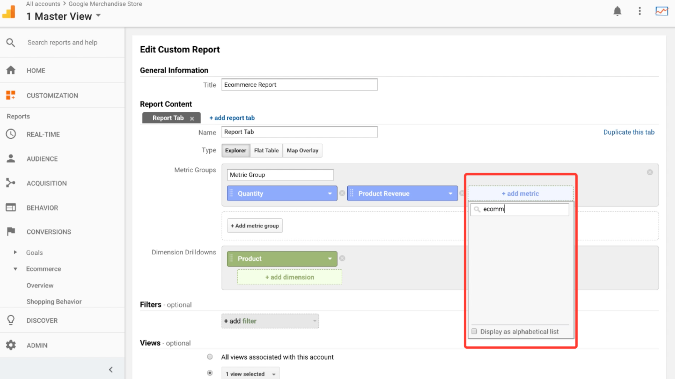 Google analytics custom reports for ecommerce