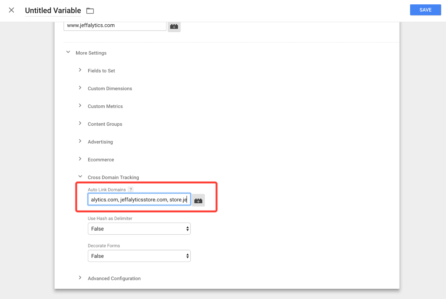 auto linking domains in google tag manager